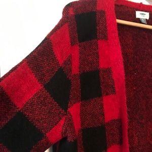Red & Black Buffalo Plaid Open Sweater/ Cardigan